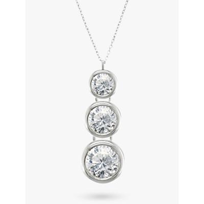 E.W Adams 18ct White Gold Trilogy Rub Over Diamond Pendant Necklace