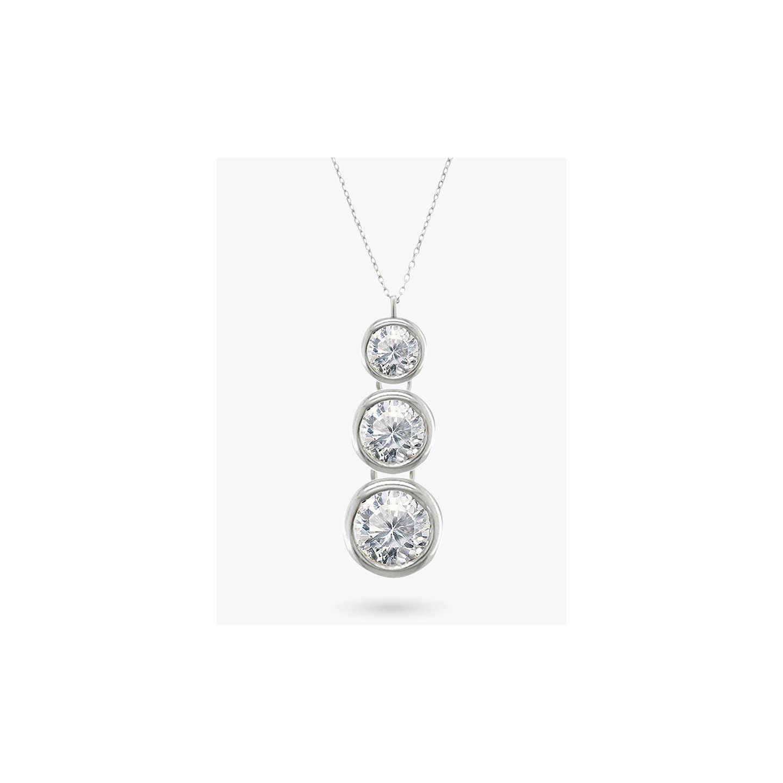 Ewa 18ct white gold trilogy rub over diamond pendant necklace at buyewa 18ct white gold trilogy rub over diamond pendant necklace online at johnlewis aloadofball Choice Image