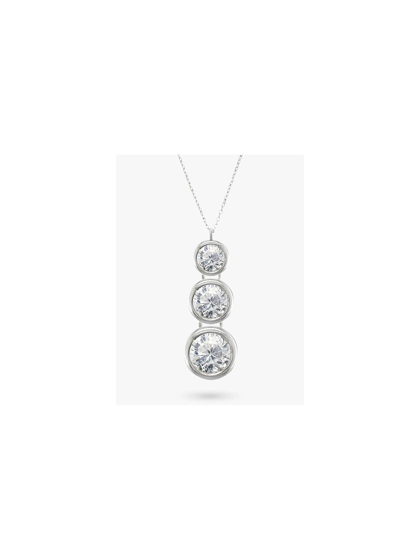 2352b4cee1b9e0 Buy E.W Adams 18ct White Gold Trilogy Rub Over Diamond Pendant Necklace  Online at johnlewis.
