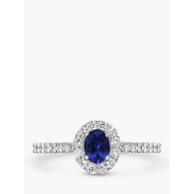 E.W Adams 18ct White Gold Oval Sapphire and Diamond Cluster Engagement Ring
