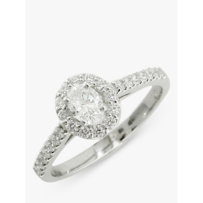 E.W Adams Platinum Oval Diamond Cluster Engagement Ring, 0.68ct