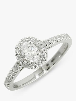 E.W Adams Platinum Oval Diamond Cluster Engagement Ring, 0.68ct