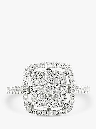 E.W Adams 18ct White Gold Diamond Cluster Engagement Ring, 0.60ct
