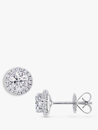 E.W Adams 18ct White Gold Diamond Cluster Stud Earrings, 0.81ct
