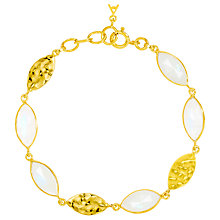 Buy Auren 18ct Gold Vermeil Moonstone Marquise Detail Bracelet, Gold/White Online at johnlewis.com