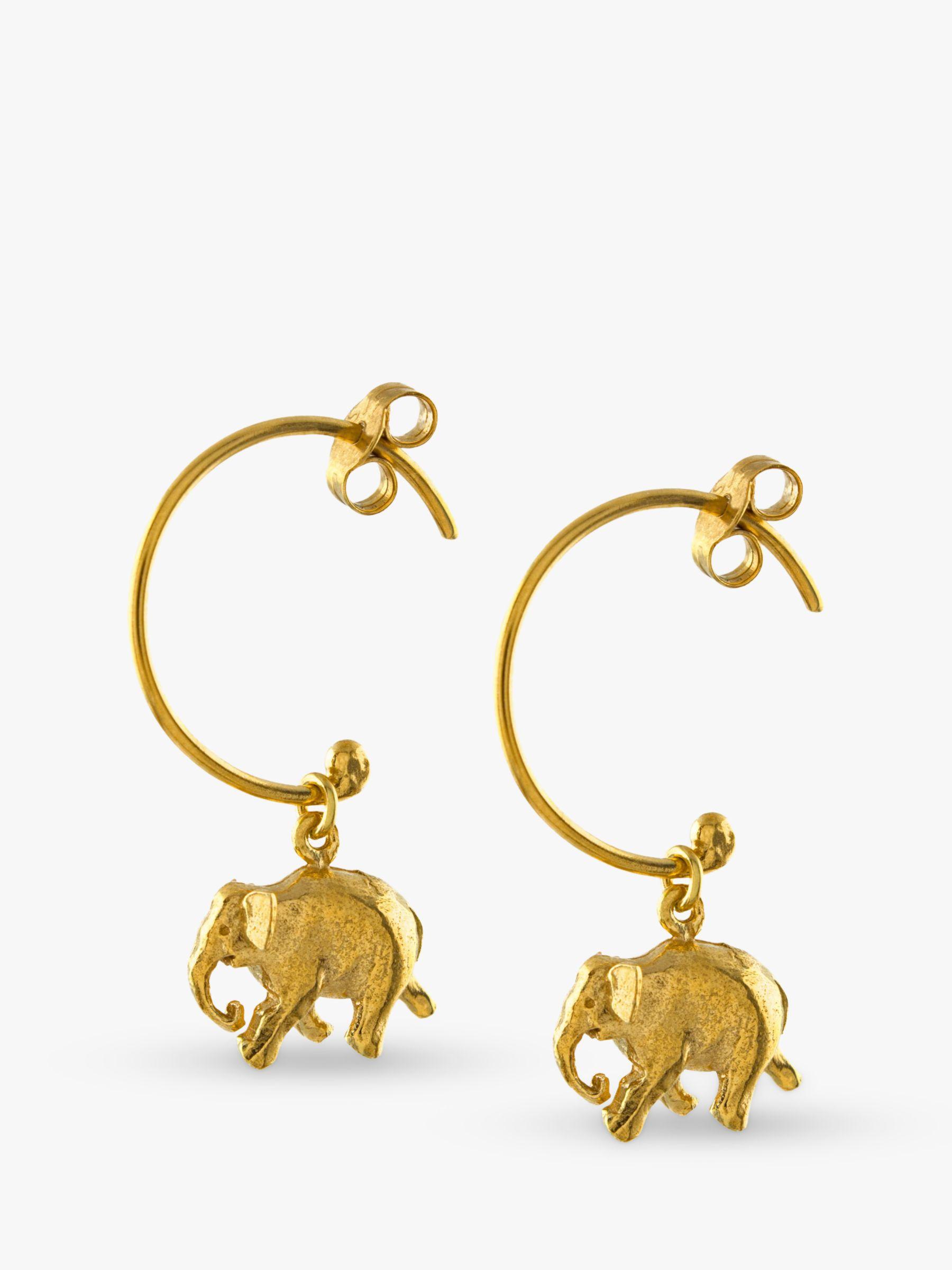 Alex Monroe Alex Monroe Indian Elephant Hoop Earrings, Gold