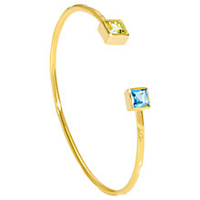 Buy Auren 18ct Gold Vermeil Square Topaz Thin Cuff, Gold/Multi Online at johnlewis.com