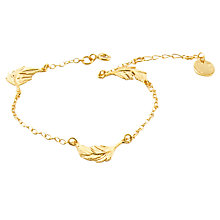 Buy Alex Monroe Feather Chain Bracelet, Gold Online at johnlewis.com