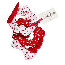 Buy Rockahula Children's Spot Print Scrunchie Hair Bands, Pack of 3, Red/White Online at johnlewis.com