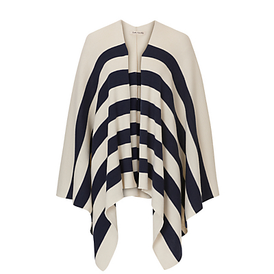 Betty Barclay Knitted Poncho, Cream/Blue