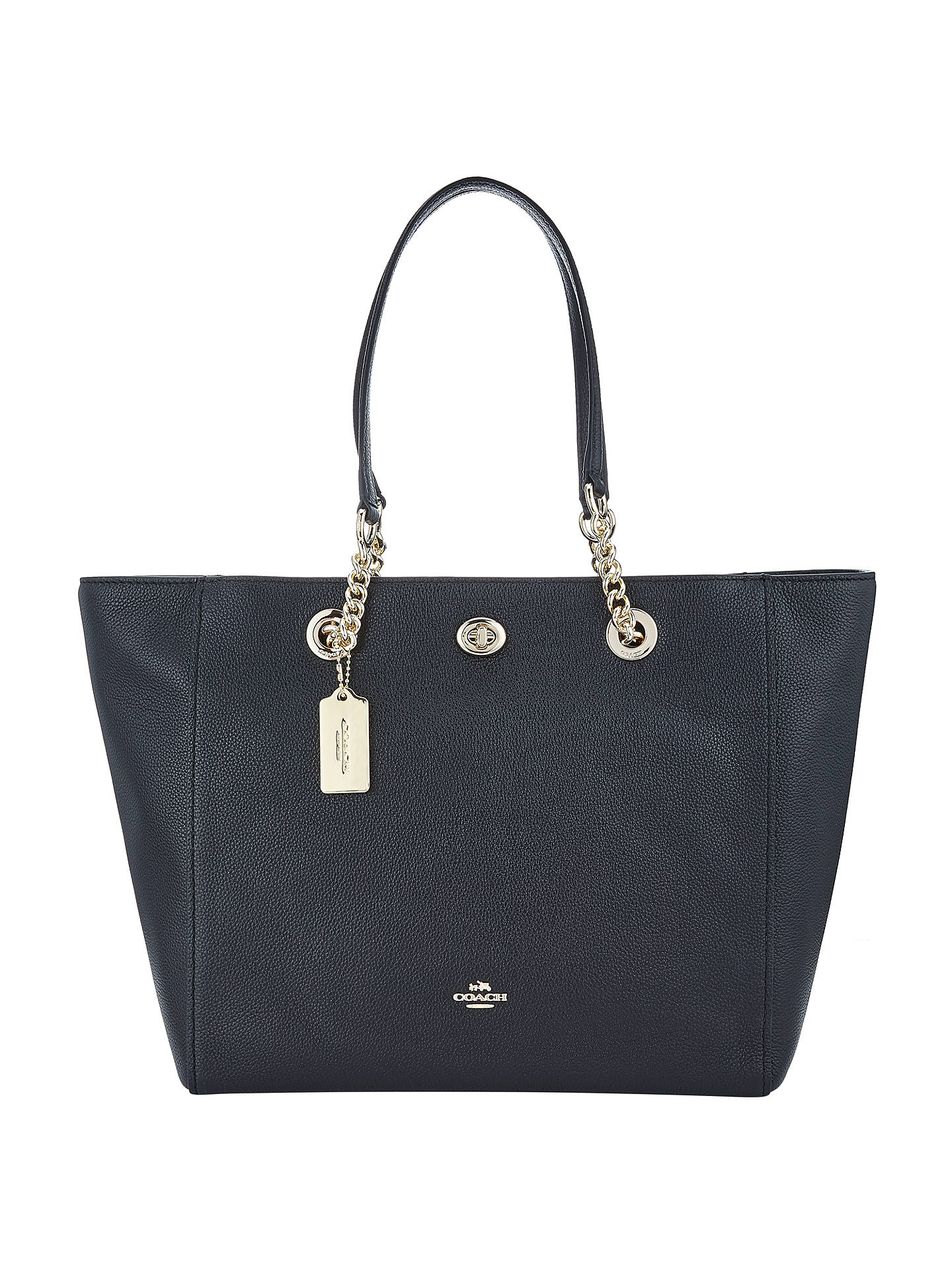 726554d49d21 where to buy buycoach turnlock chain crossgrain leather tote bag black  online at johnlewis caedd ff270
