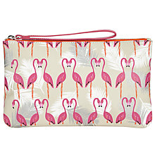 Buy John Lewis Flamingo Print Leather Pouch, Flamingo Online at johnlewis.com