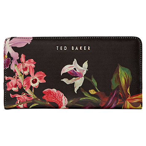 Buy Ted Baker Imberi Lost Gardens Leather Matinee Purse, Black Online at johnlewis.com