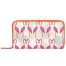 Buy John Lewis Flamingo Print Leather Zip Around Purse, Flamingo Online at johnlewis.com