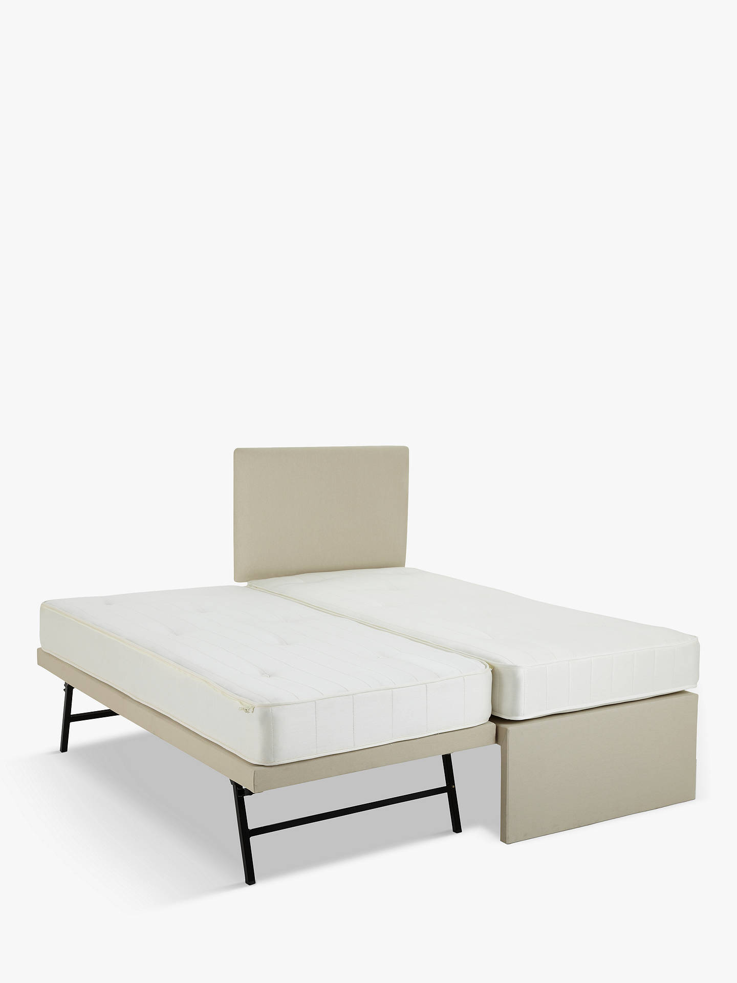 BuyJohn Lewis & Partners Savoy Two Pocket Spring Trundle Guest Bed, Canvas Pebble, Single Online at johnlewis.com