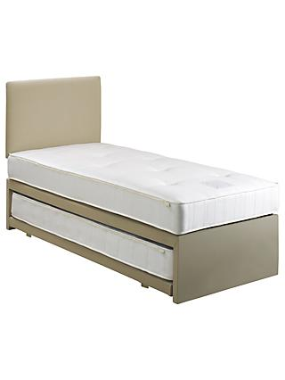 John Lewis & Partners Savoy Two Open Spring Trundle Guest Bed, Canvas Pebble, Single
