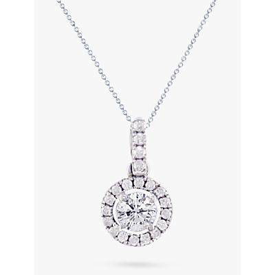 E.W Adams 18ct White Gold Diamond Cluster Pendant Necklace, 0.65ct