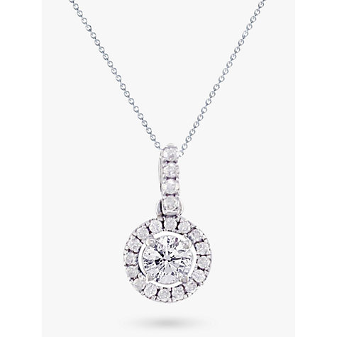 Buy EWA 18ct White Gold Diamond Cluster Pendant Necklace, 0.65ct Online at johnlewis.com