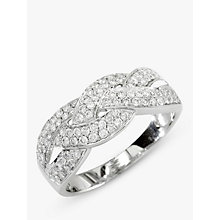 Buy EWA 18ct White Gold Diamond Cross Pattern Ring, 0.57ct Online at johnlewis.com