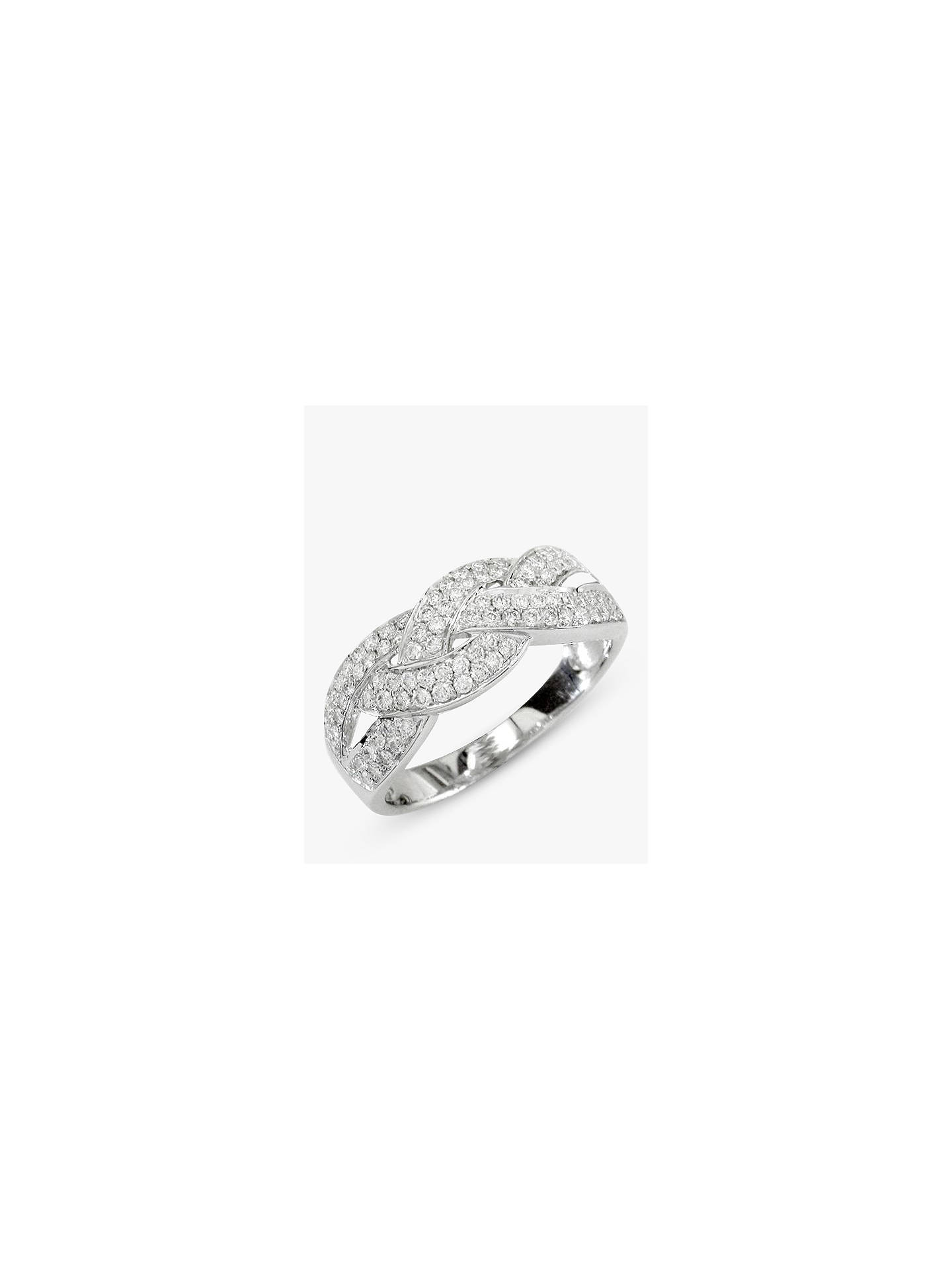 Buy E.W Adams 18ct White Gold Diamond Cross Pattern Ring, 0.57ct Online at johnlewis.com