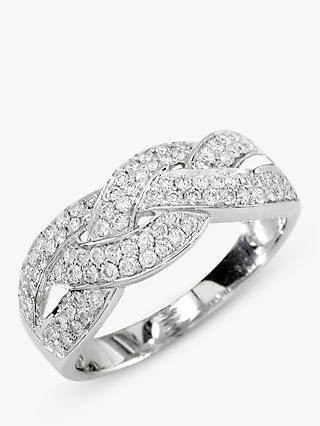 E.W Adams 18ct White Gold Diamond Cross Pattern Ring, 0.57ct