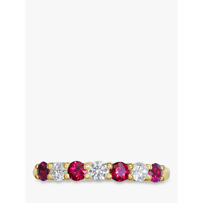 Image of EWA 18ct Yellow Gold Brilliant Cut Ruby and Diamond Half Eternity Ring