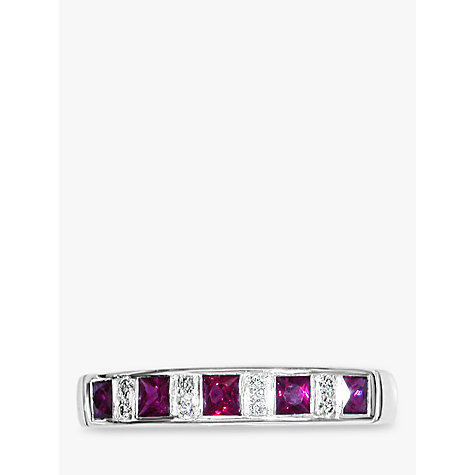 Buy EWA 18ct White Gold Channel Set Ruby and Diamond Half Eternity Ring Online at johnlewis.com