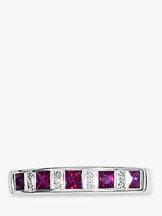 E.W Adams 18ct White Gold Channel Set Ruby and Diamond Half Eternity Ring