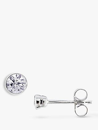 E.W Adams 18ct White Gold Diamond Rub Over Stud Earrings, 0.60ct