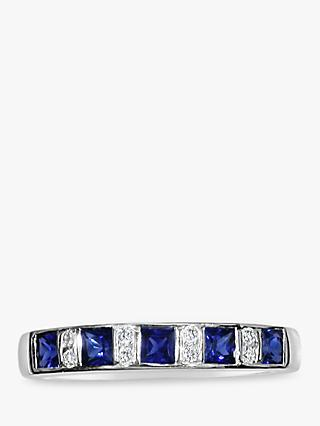 E.W Adams 18ct White Gold Diamond and Sapphire Half Eternity Ring