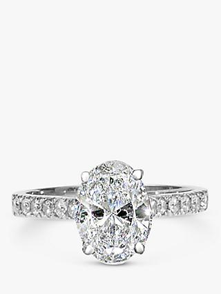 E.W Adams Platinum Oval Cut Diamond Engagement Ring. 0.50ct