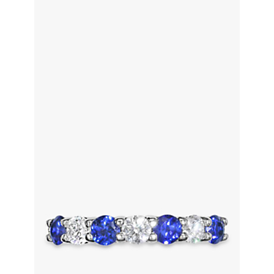 Image of EWA 18ct White Gold Brilliant Cut Sapphire and Diamond Half Eternity Ring