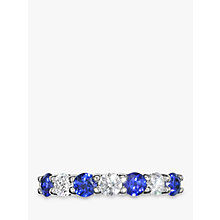 Buy EWA 18ct White Gold Brilliant Cut Sapphire and Diamond Half Eternity Ring Online at johnlewis.com