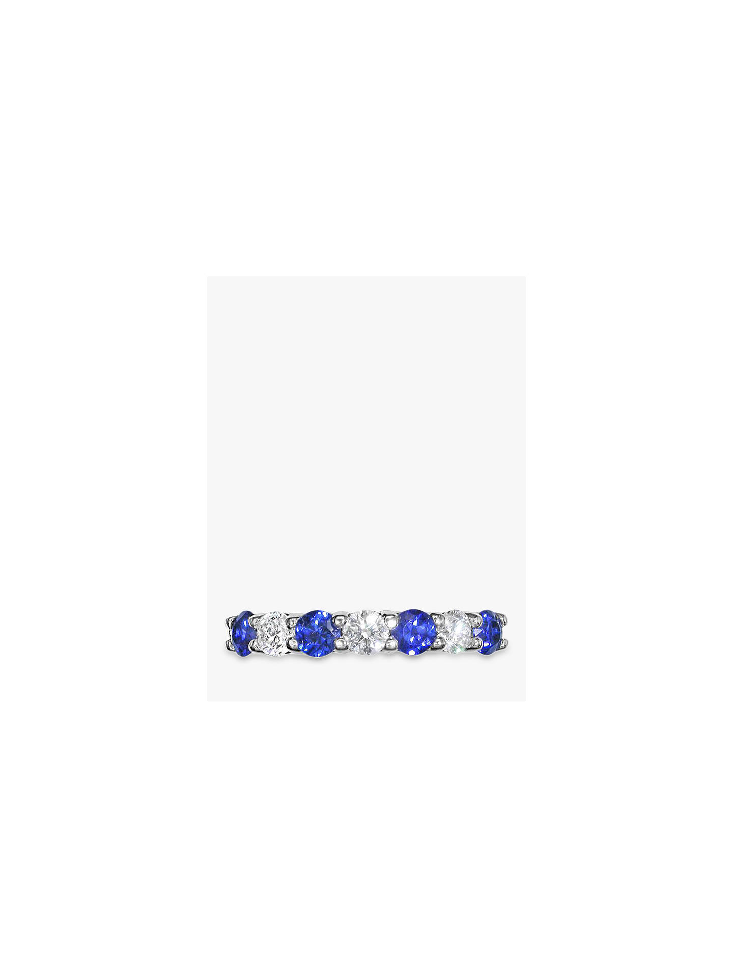 Buy E.W Adams 18ct White Gold Brilliant Cut Sapphire and Diamond Half Eternity Ring Online at johnlewis.com
