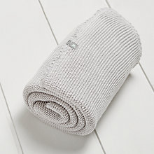 Buy The Little Green Sheep Wild Cotton Knitted Baby Blanket, Grey Online at johnlewis.com