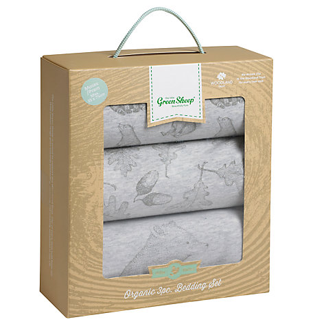 Buy The Little Green Sheep Wild Cotton Baby Bear Moses/Pram Bedding Set, Pack of 3, Grey Online at johnlewis.com