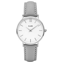 Buy CLUSE CL30006 Women's Minuit Silver Leather Strap Watch, Grey/White Online at johnlewis.com