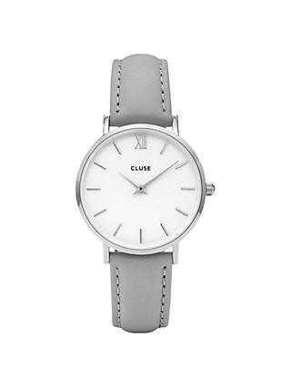 CLUSE CL30006 Women's Minuit Silver Leather Strap Watch, Grey/White