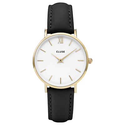 CLUSE CL30019 Women's Minuit Gold Leather Strap Watch, Black/White