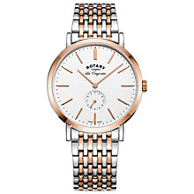 Buy Rotary GB90191/01 Men's Les Originales Windsor Two Tone Bracelet Strap Watch, Silver/Rose Gold Online at johnlewis.com