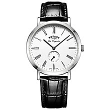 Buy Rotary GS90190/01 Men's Les Originales Leather Strap Watch, Black/White Online at johnlewis.com