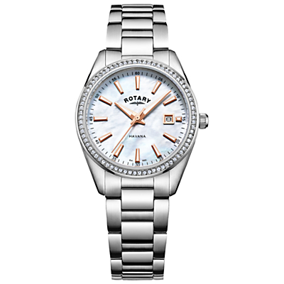 Rotary LB05079/41 Women's Havana Date Bracelet Strap Watch, Silver/Mother of Pearl