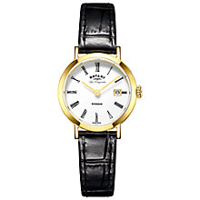 Buy Rotary LS90156/01 Women's Les Originales Windsor Date Leather Strap Watch, Black/White Online at johnlewis.com