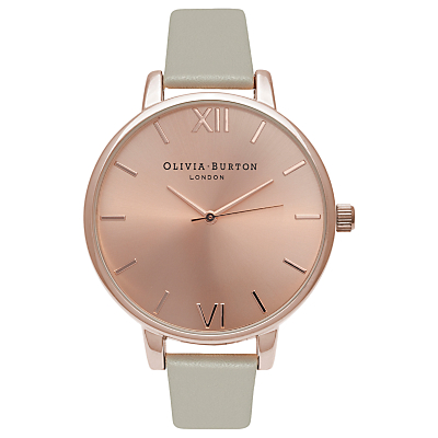 Olivia Burton OB16BD98 Women's Big Dial Leather Strap Watch, Grey/Rose Gold