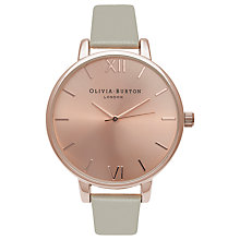 Buy Olivia Burton OB16BD98 Women's Big Dial Leather Strap Watch, Grey/Rose Gold Online at johnlewis.com