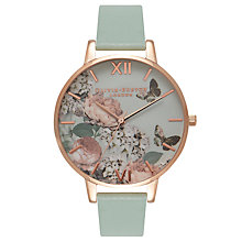 Buy Olivia Burton OB16EG47 Women's Enchanted Garden Leather Strap Watch, Mint Online at johnlewis.com