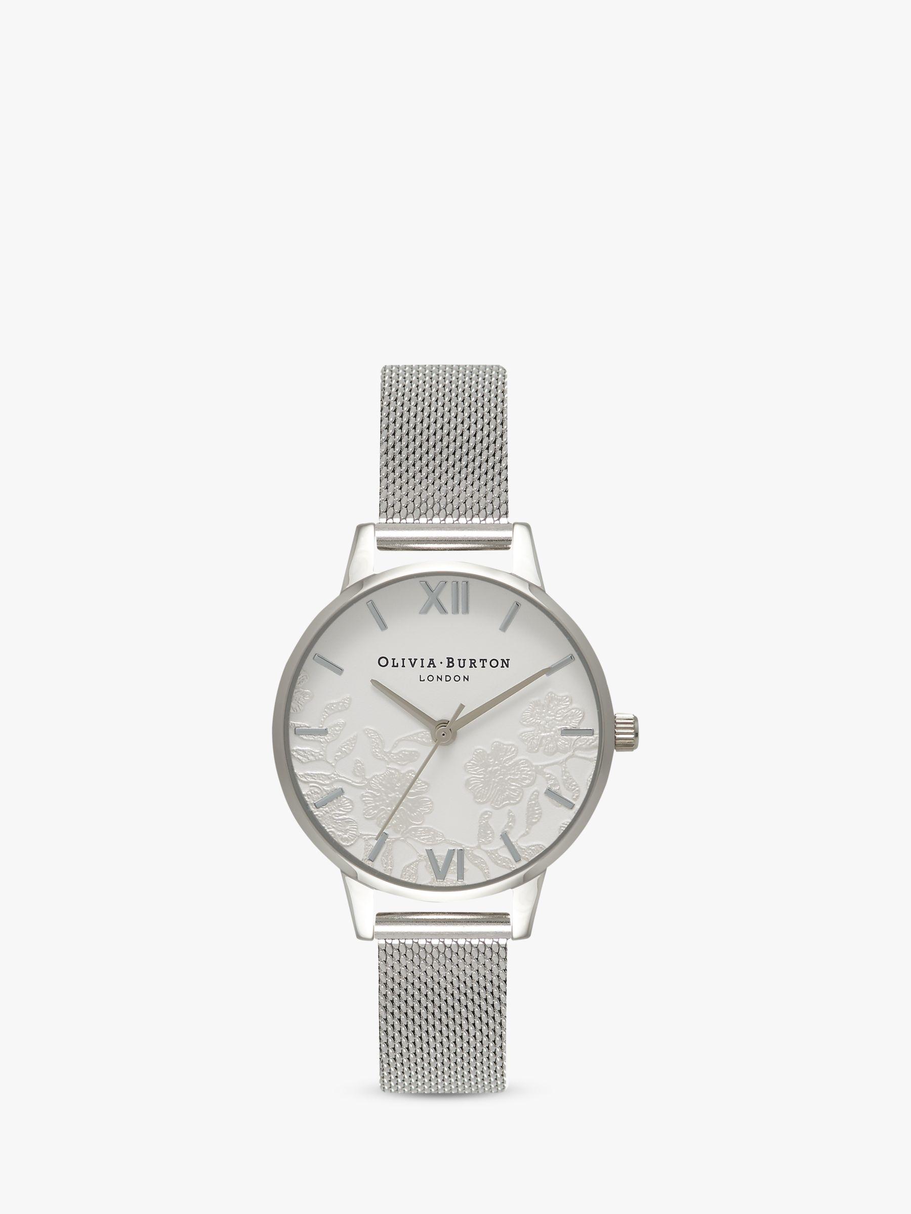 Olivia Burton Olivia Burton OB16MV54 Women's Lace Detail Bracelet Strap Watch, Silver/White