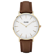 Buy CLUSE CL18408 Women's La Boheme Gold Leather Strap Watch, Dark Brown/White Online at johnlewis.com