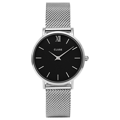 CLUSE CL30015 Women's Minuit Mesh Bracelet Strap Watch, Silver/Black