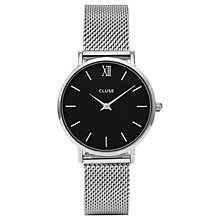 Buy CLUSE CL30015 Women's Minuit Mesh Bracelet Strap Watch, Silver/Black Online at johnlewis.com